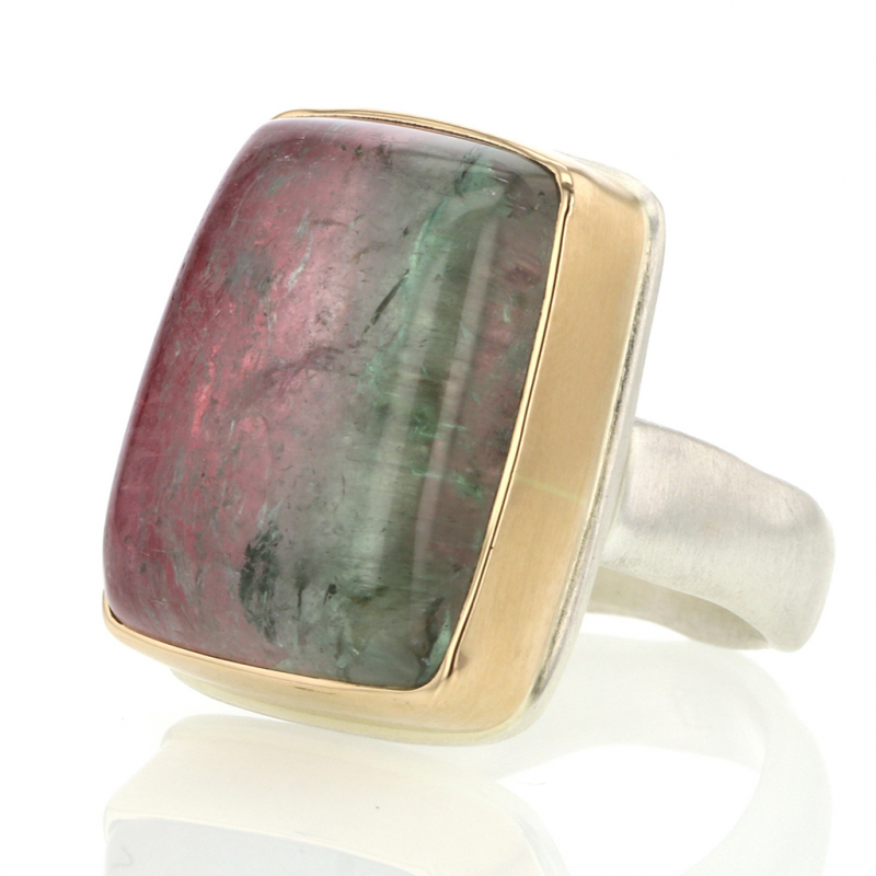 Vertical Watermelon Tourmaline Silver and Rose Gold Ring