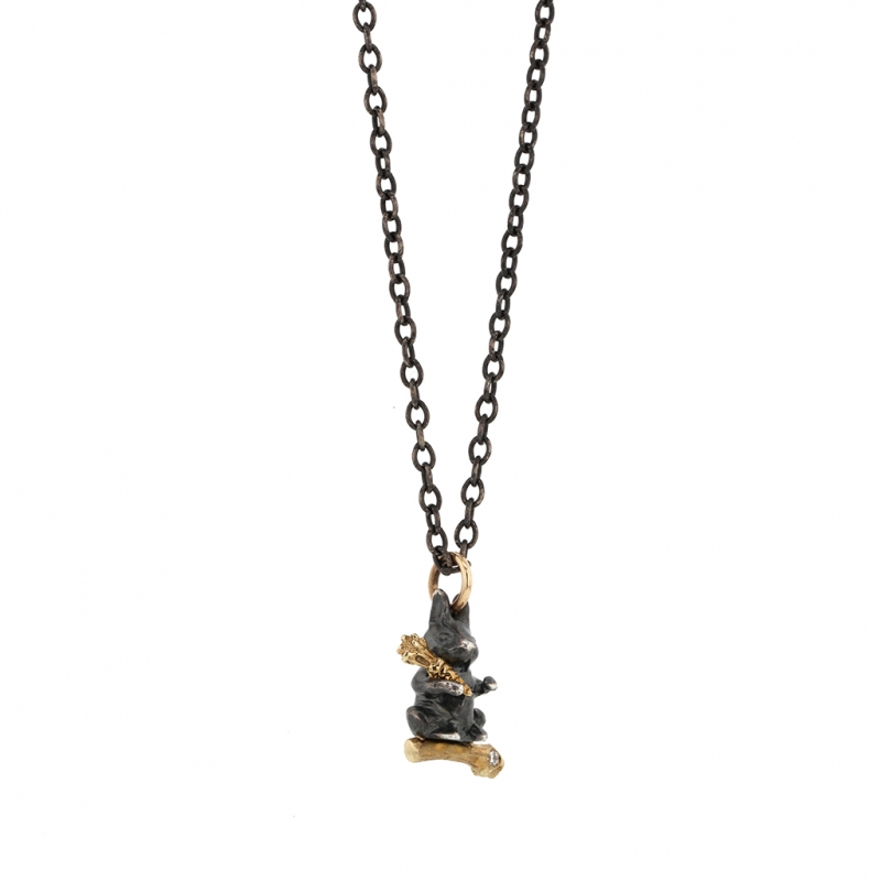 Bunny on Long Oxidized Silver Chain Necklace