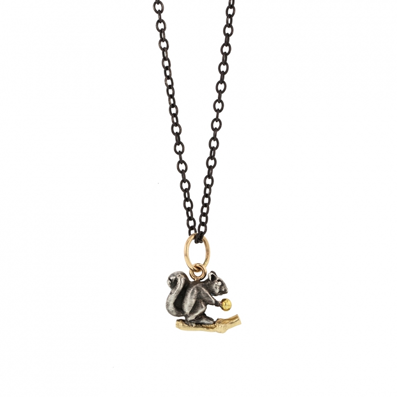 Squirrel Long Blackened Silver Necklace