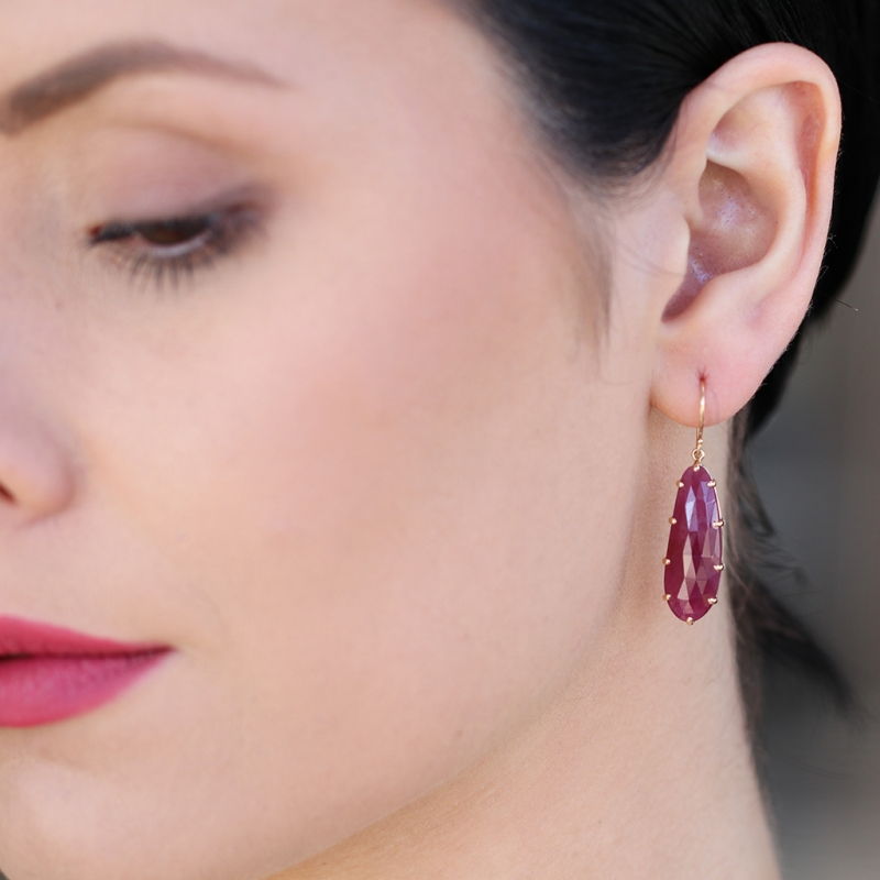 Asymmetrical Indian Ruby Prong Gold Earrings
