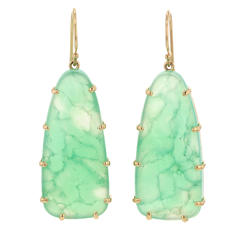 Unique Chrysoprase 14k Gold Earrings