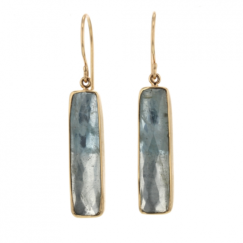 Aquamarine Rectangular Earrings