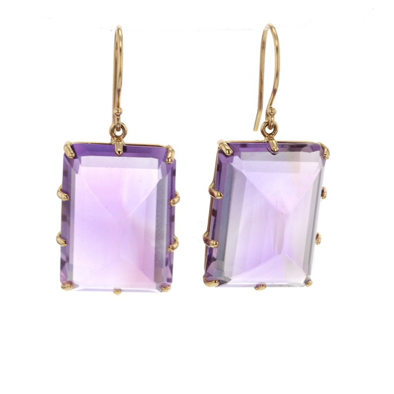 Amethyst Rectangle Inverted Prong Gold Earrings