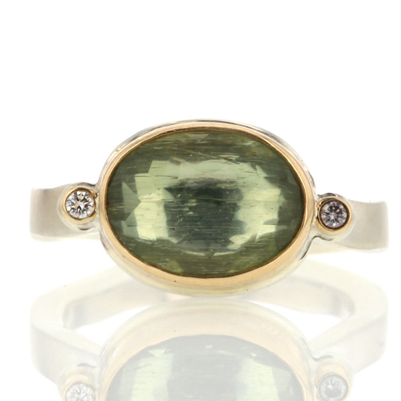 Green Beryl Silver and Gold Ring with Diamonds