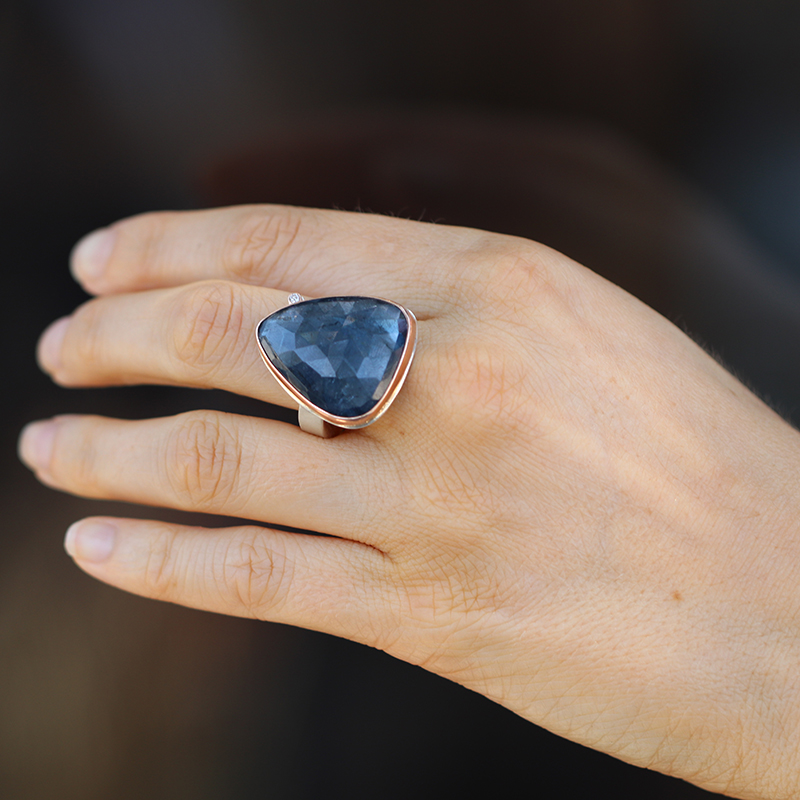 Blue Tourmaline Vertical Faceted Ring with Satellite Diamond