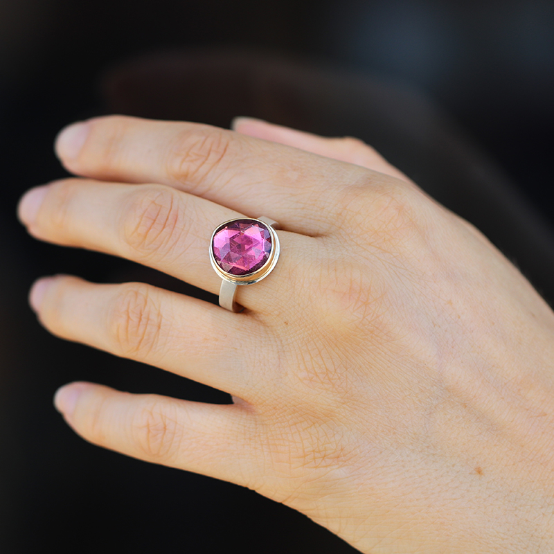 Pink Tourmaline Silver and Gold Faceted Ring