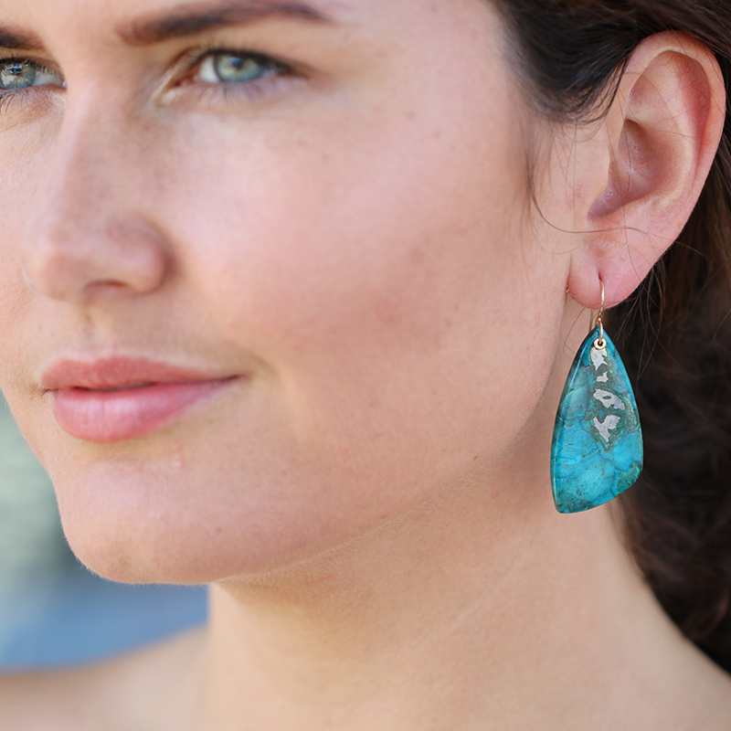 Chrysocolla, Iron and Quartz Earrings