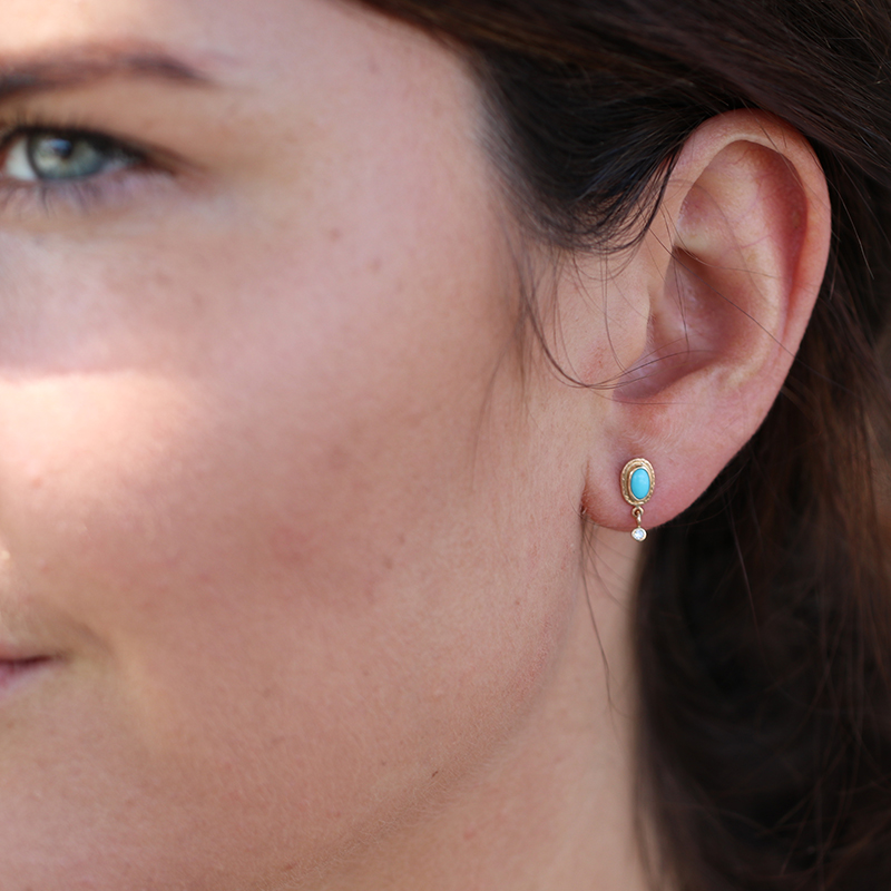 Turquoise Post Stud Earrings with Diamond Dangles