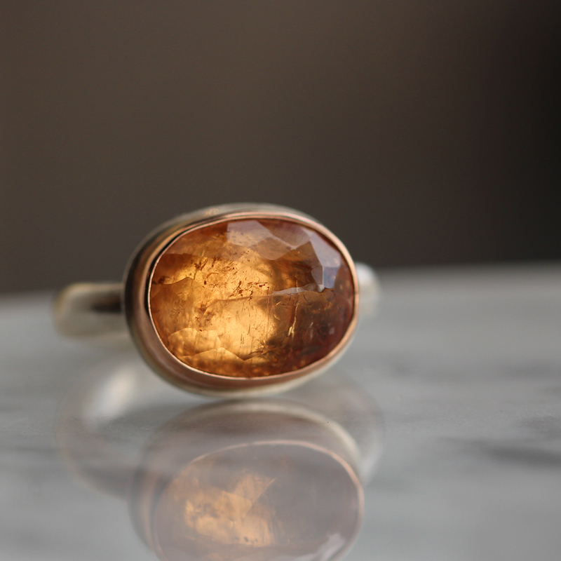 Imperial Topaz Inverted Faceted Ring