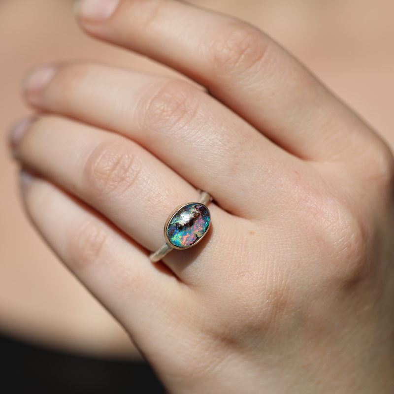 Oval Australian Opal Silver and Gold Ring
