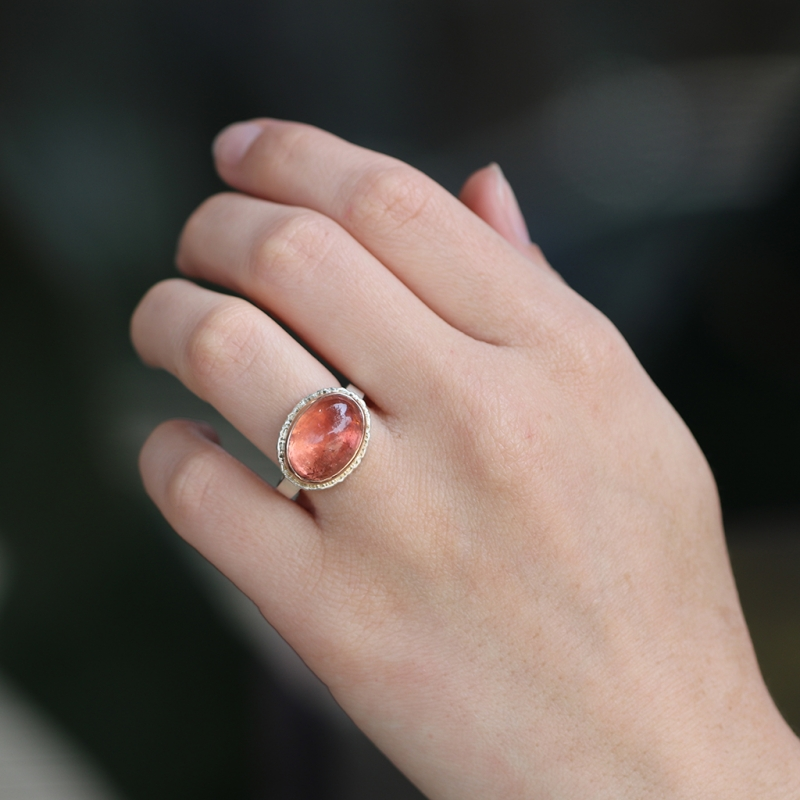 Smooth Oval Salmon Color Tourmaline Ring