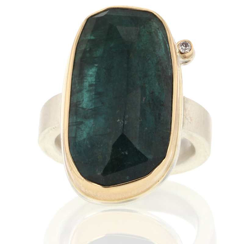Blue Green Tourmaline Vertical Ring with Diamond Accent