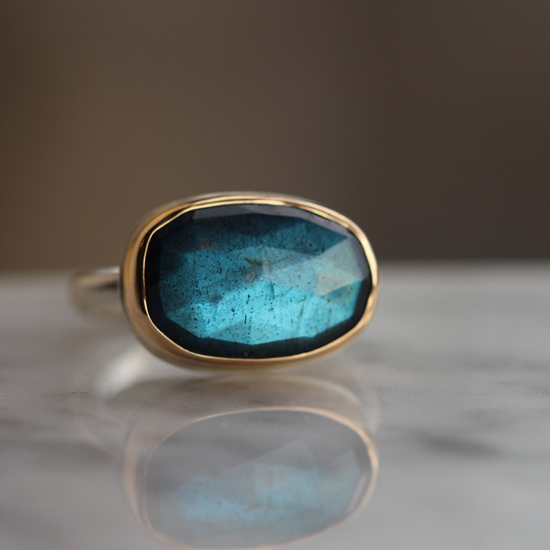 Rose Cut Labradorite Silver and Gold Ring
