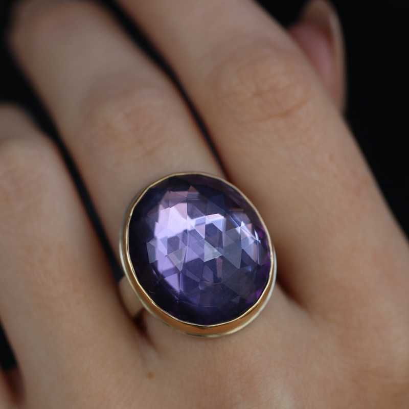 Vertical Oval Rose Cut Amethyst Ring