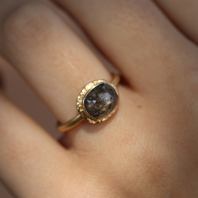 Rustic Diamond Ring on Ruffled Platform