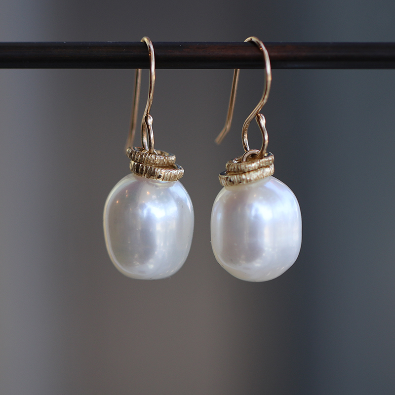Cultured White Pearl Drop Reeded Ring Earrings