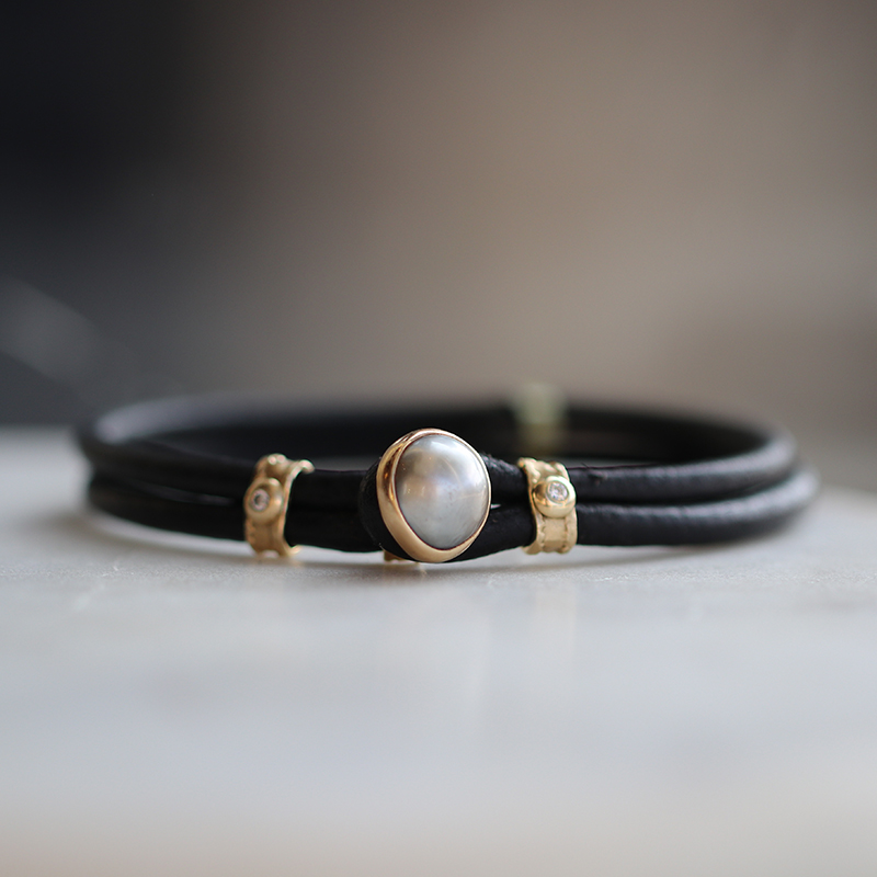 Tahitian Pearl and Diamond Cord Bracelet