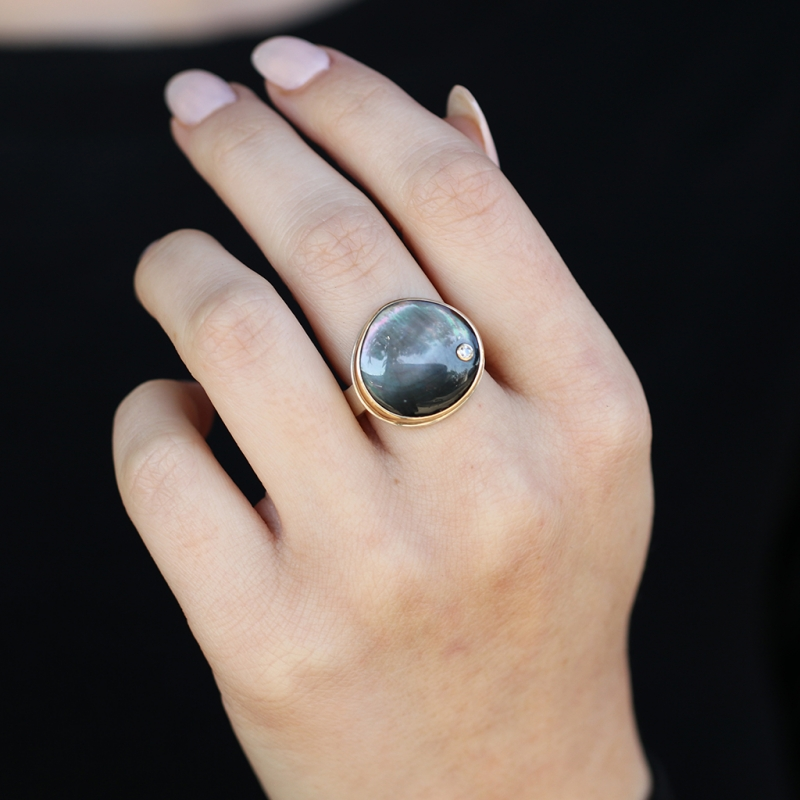Asymmetrical Black Mother of Pearl and Diamond Ring