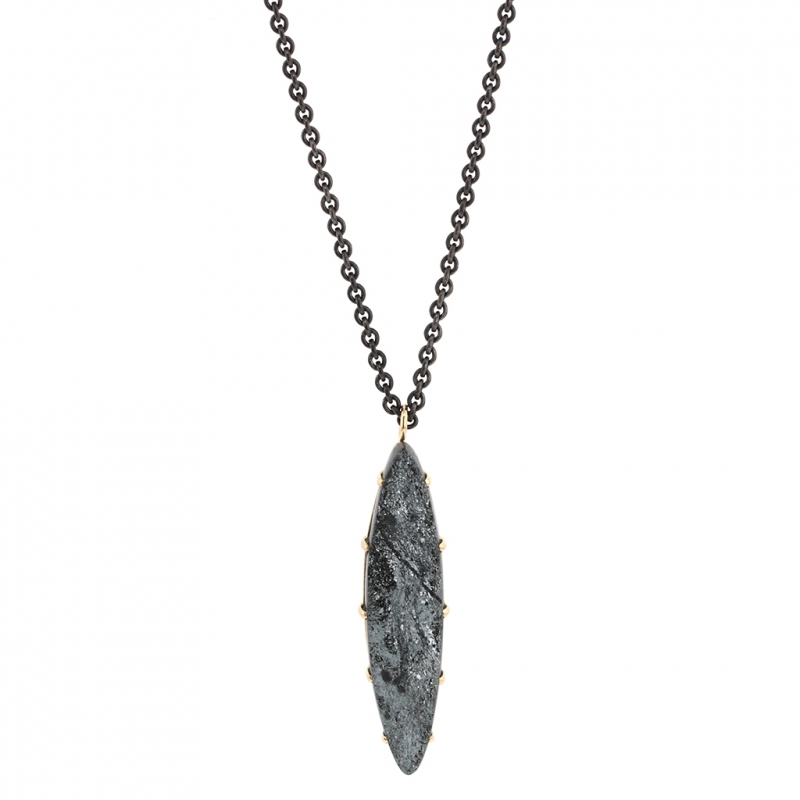Marquise Surface Hematite Long Necklace