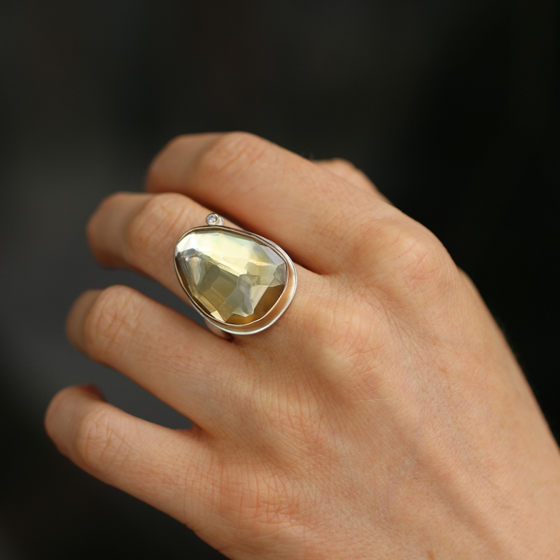 Asymmetrical Citrine Ring with Diamond Accent