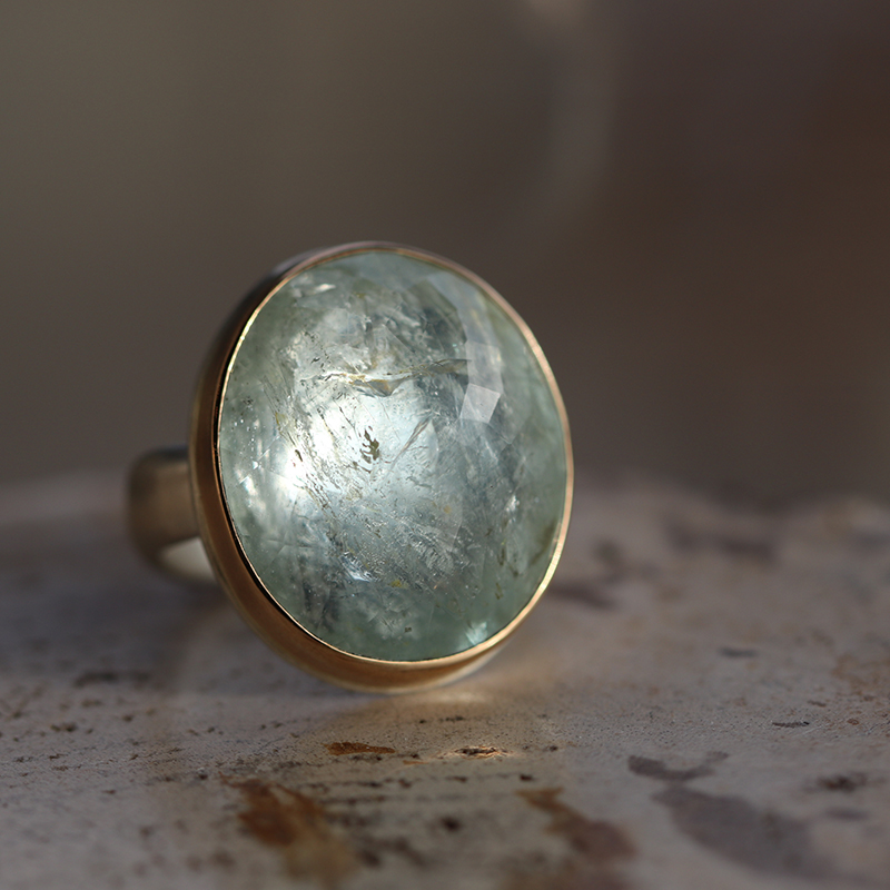 Inverted Faceted Silver and Gold Aquamarine Ring