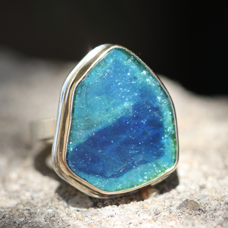 Blue Green Tourmaline Slice Silver and Gold Ring