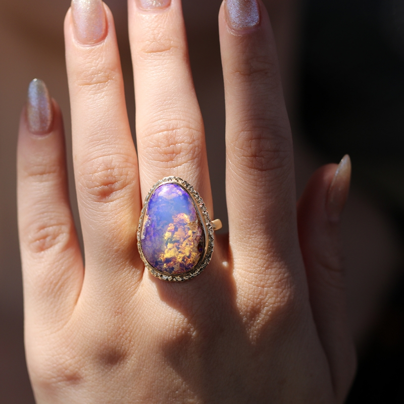 Vertical All Gold Australian Opal Ring