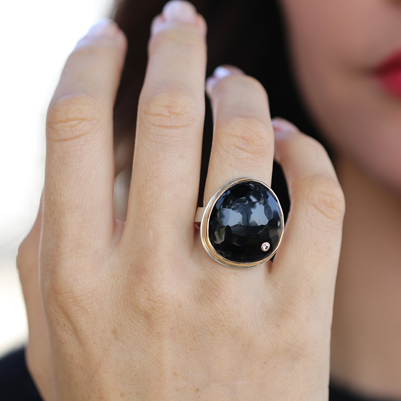 Asymmetrical Vertical Black Onyx Ring with Diamond