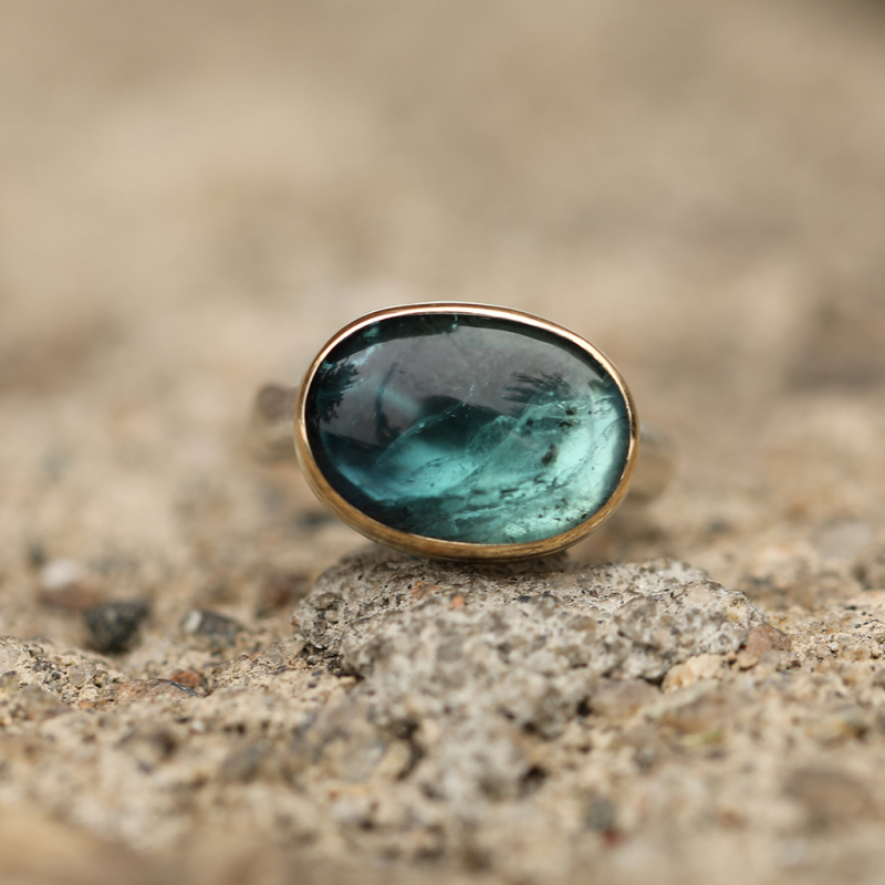 Oval Ombre Indicolite Tourmaline Ring