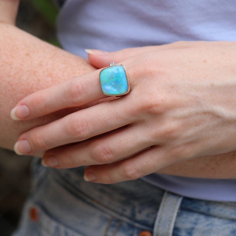 Australian Opal Ring on Vine Band