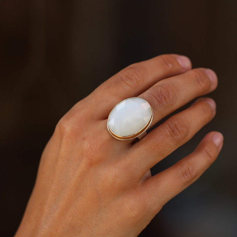 White Moonstone Vertical Faceted Ring