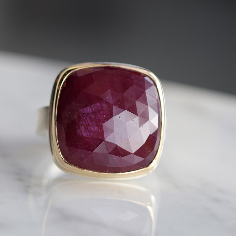 Rose Cut Indian Ruby Ring