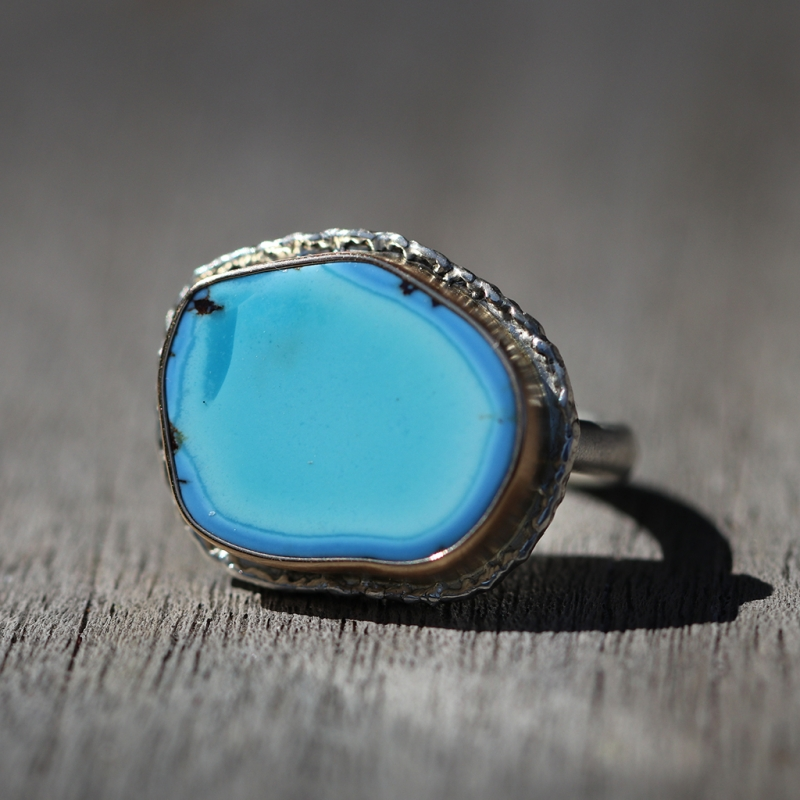 Kazakhstani Turquoise Silver and Gold Lava Edge Ring