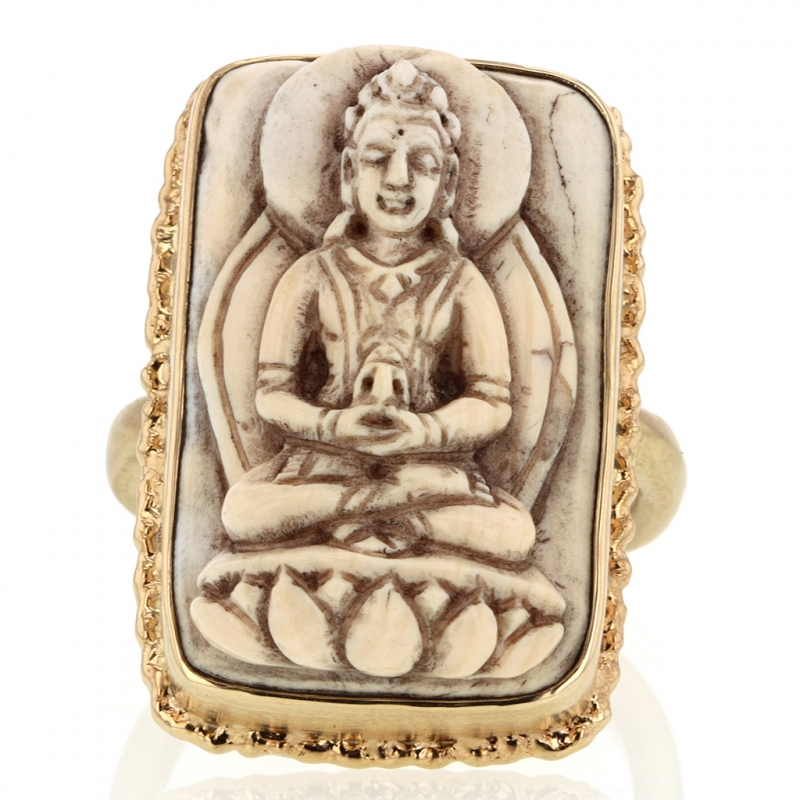 All Gold Carved Buddha Ring