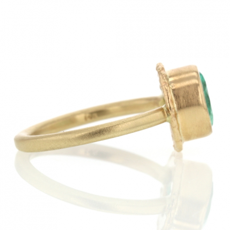 All Gold Teardrop Emerald Ring