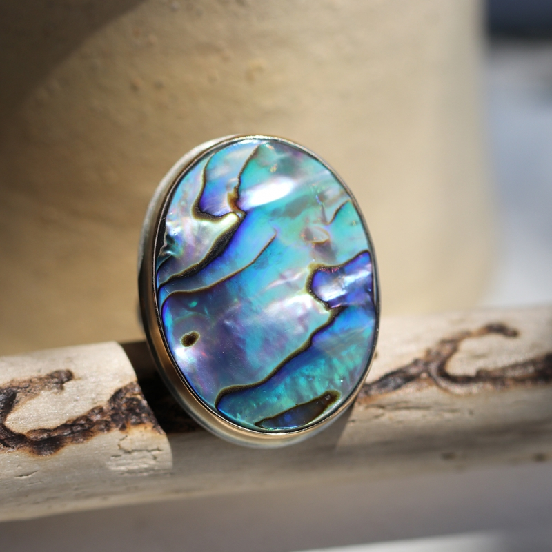 Large Abalone Silver and Gold Ring