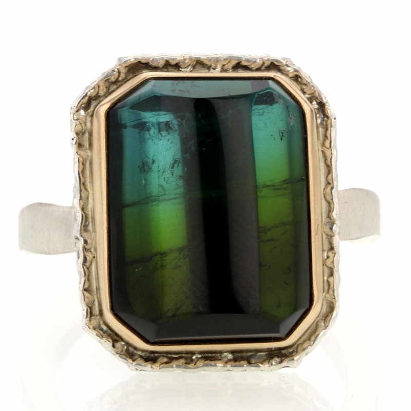 Rectangular Blue Green Tourmaline Ring on Lava Platform