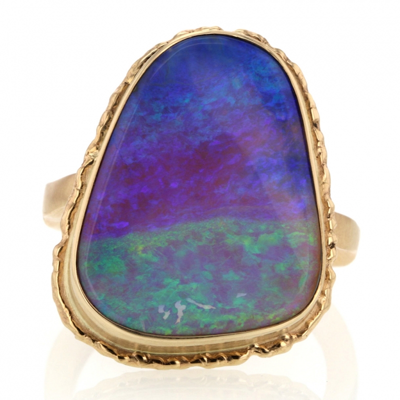 All Gold Ruffled Platform Magical Boulder Opal Ring