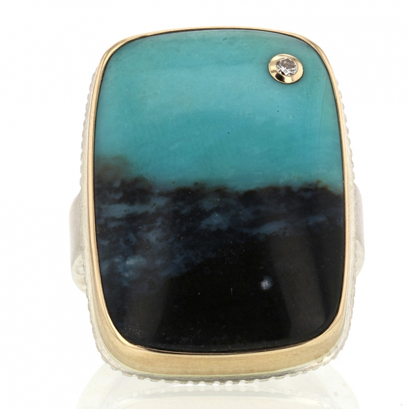 Rectangular Blue Indonesian Fossilized Opalized Wood and Diamond