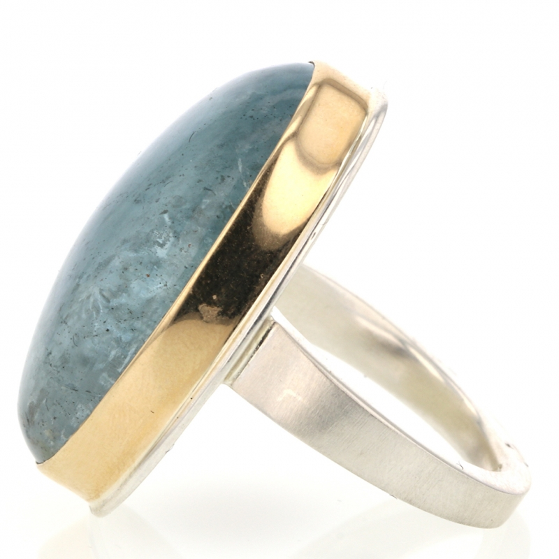 Vertical Large Smooth Aquamarine Silver and Gold Ring