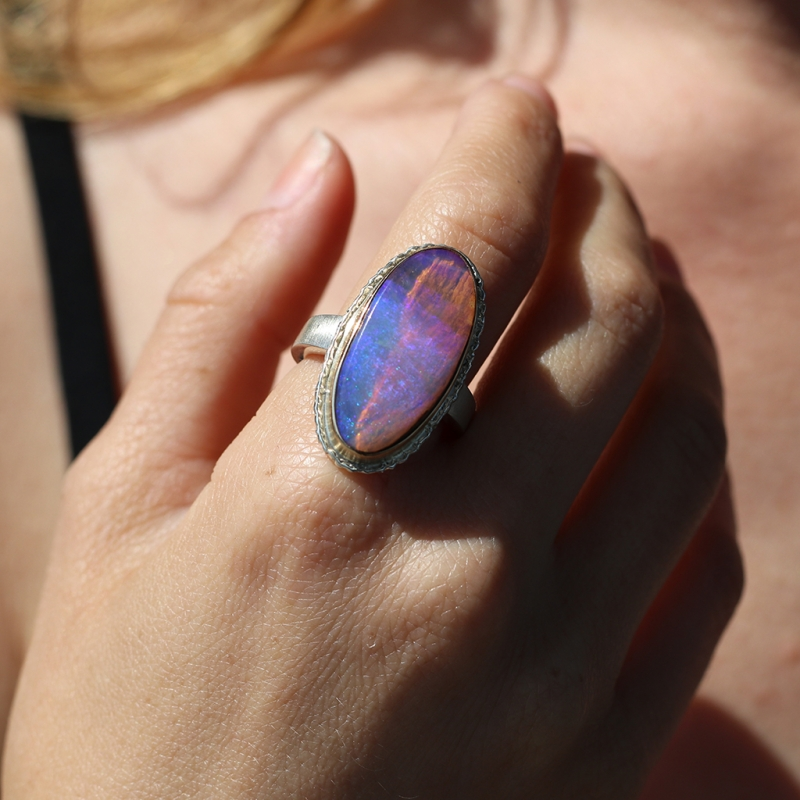Vertical Oval Opalized Wood Ring