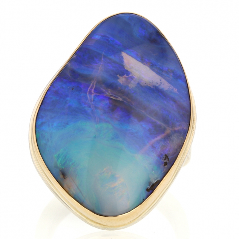 Large Asymmetrical Silver and Gold Boulder Opal Ring