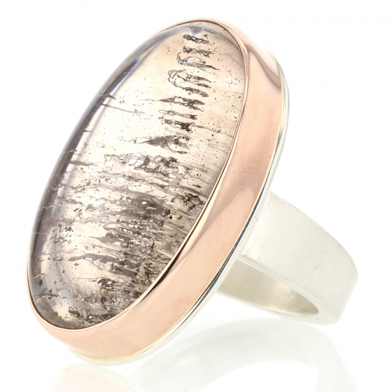 Vertical Oval Smooth Pink Fire Quartz Ring