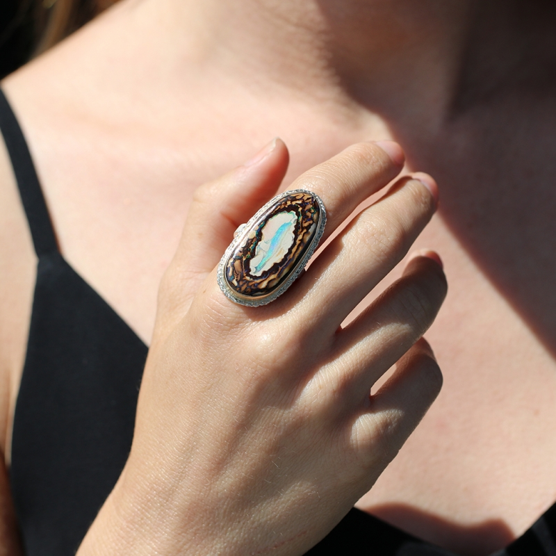 Large Vertical Boulder Opal Silver and Gold Ring