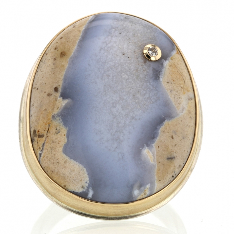 Natural Blue Boulder Chalcedony Ring with Diamond Accent