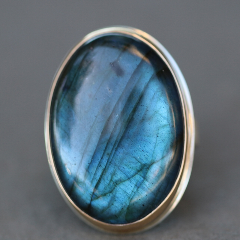 Large Vertical Labradorite Ring