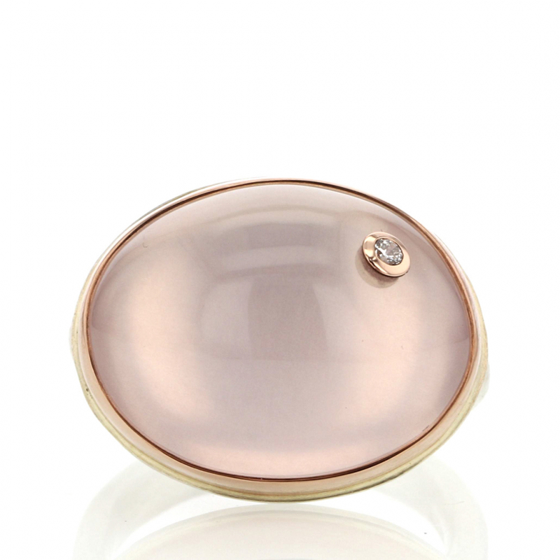 Oval Rose Quartz Rose Gold and Silver Ring with Diamond