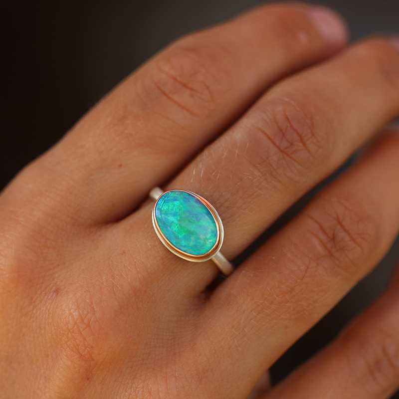 Green Australian Opal Oval Ring
