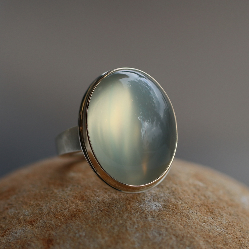 Vertical Oval Green Moonstone Silver and Gold Ring
