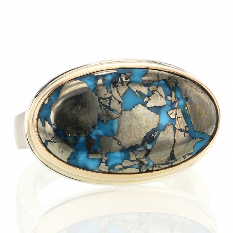Pyrite and Persian Turquoise Oval Ring